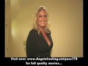 bored golden-haired milf with laptop undressing