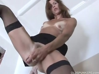 adorable older red head in stockings