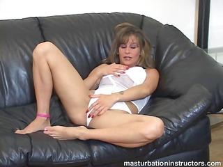 jerk off teacher widens her legs and starts