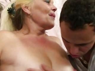 blonde granny receives her snatch slammed
