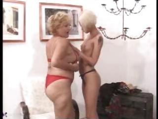 granny and youthful lesbo meet and have
