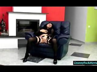 granny in sexy underware teasing and stripping a
