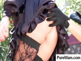 Hot brunette slave is taken outside and gets tied
