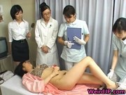 oriental wife is examining male workers