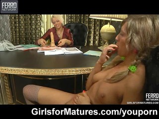 lesbo milf and youthful beauty in the office