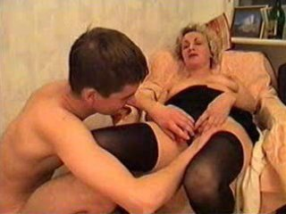 aged lady and a juvenile guy take three-some wine