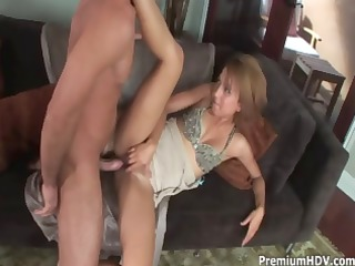slutty redhead veronique munches on his large