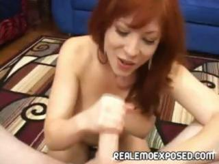 breasty redheaded d like to fuck strips, gives a
