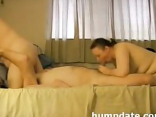 lucks guy has oral pleasure with his wife and date