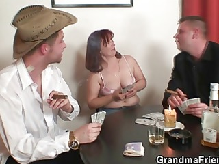 old wench in nylons takes rods