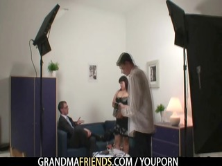 older big beautiful woman gets group-fucked and