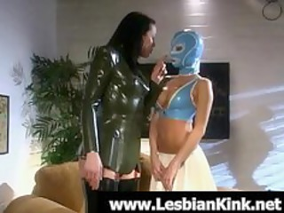 lesbian babes in rubber clothes drubbing butts