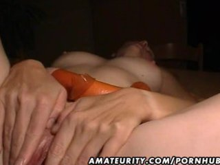 Mature amateur wife toys, sucks and fucks with