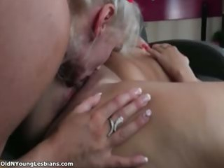 excited aged lesbians go crazy licking