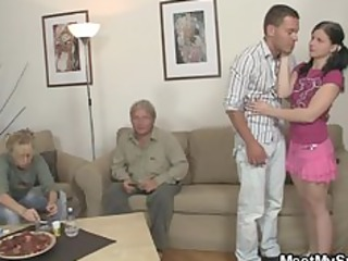 her bf steps out of the room and she fucks his