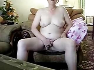 older lady completely naked masturbating
