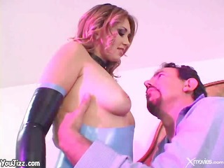 charming cutie in latex rocks his world and takes