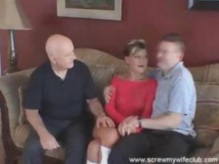 spouse watches as his young wife sucks and bonks