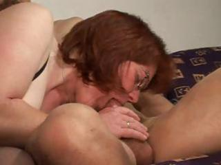 older redhead acquires her muff munched, fingered