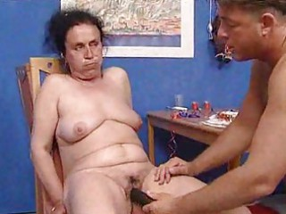 Grandma get a full face of sperm