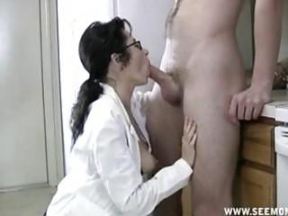 milf with glasses acquires throat full of cum