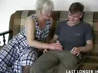 Mature blonde in stockings fucks the boy part1