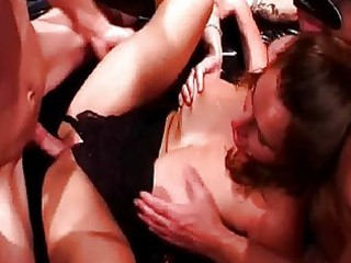 Two bootylicious busty mommas get drilled in gang