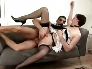 aged maid gets spanked by guy