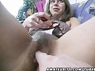 bushy amateur wife toys and rides a cock with