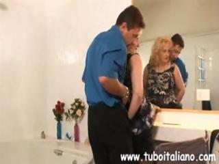 bulky amateur golden-haired itallian milf blows