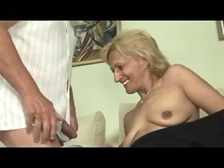 golden-haired mature masturbates and sucks and