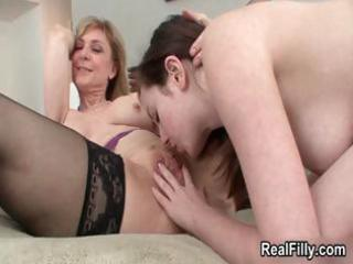 horny mature blond lesbo goes insane
