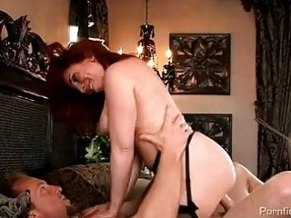 busty redhead milf in nylons acquires rammed hard