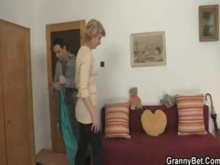 blond granny gets a younger cock to come over and