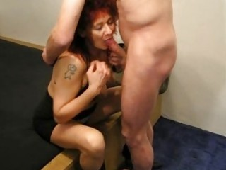 mature redhead non-professional wife sucks and