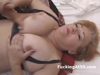 breasty redhead corpulent grandma screwed by