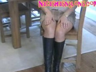 lewd hot pantyhose mommy in darksome leather boots