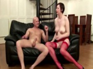 older amateur brit in nylons receives a spunk