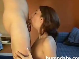 Sweet MILF deepthroats cock and gets defaced