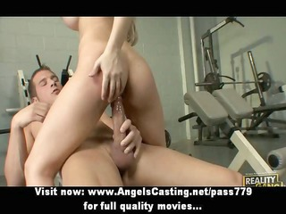sporty blonde does oral-service and titsjob and