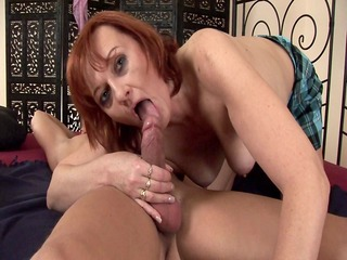 redhead helga receives her aged pussy stretched