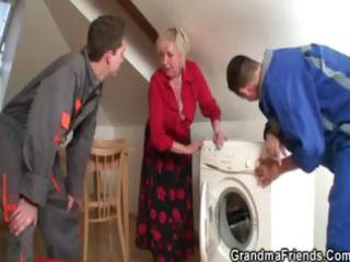 repairmen team fuck breasty grandma from the one