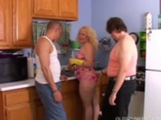 cute corpulent milf spit roasted in the kitchen