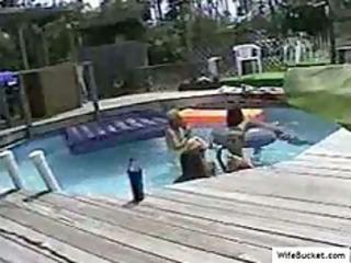swinger orgy in the pool