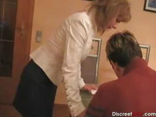 sexy german mama teaches boy