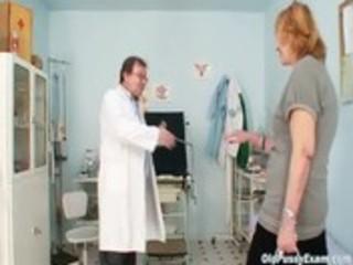 redhead granny dirty slit stretching in gyn clinic