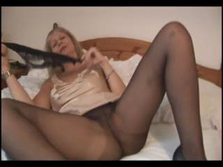 breasty aged golden-haired in pantyhose takes em