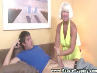 granny rubbing lubedup cock passionately