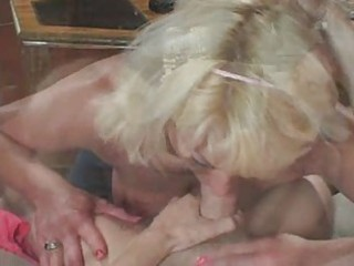 blond aged in white stocking copulates the chap