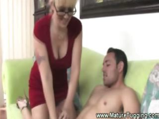 sexy golden-haired mother i babe in spex tugs